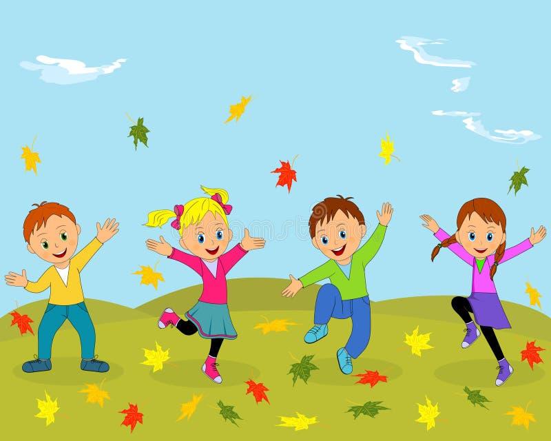 Παιδιά, αγόρια και κορίτσι που πηδούν και που κυματίζουν τα χέρια τους διανυσματική απεικόνιση