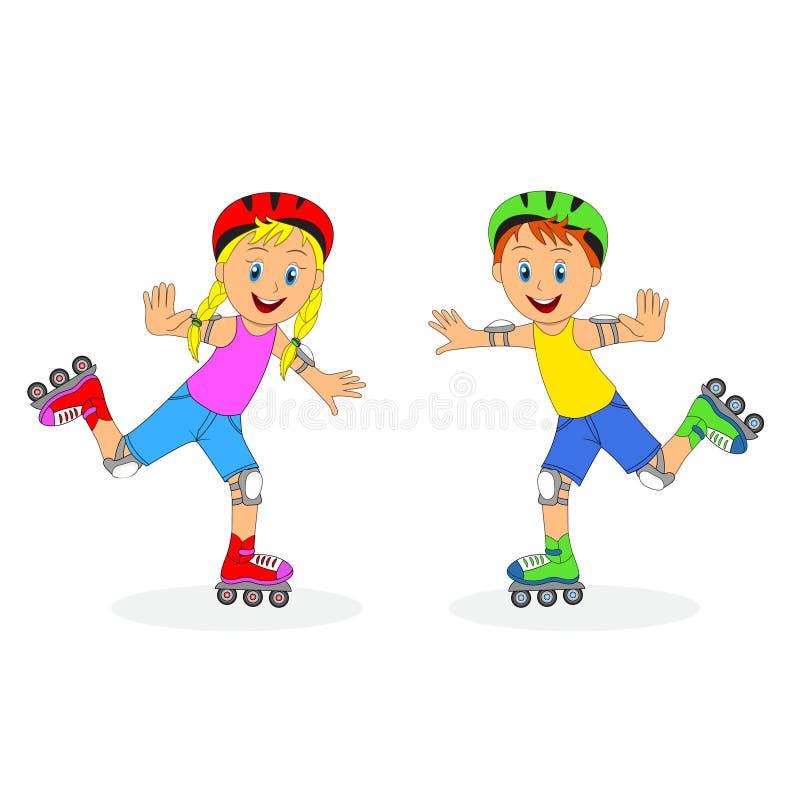 Παιδιά, αγόρι και κορίτσι στα σαλάχια κυλίνδρων διανυσματική απεικόνιση