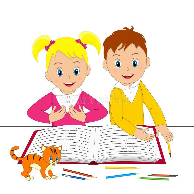 Παιδιά, αγόρι, κορίτσι και γάτα με το βιβλίο απεικόνιση αποθεμάτων