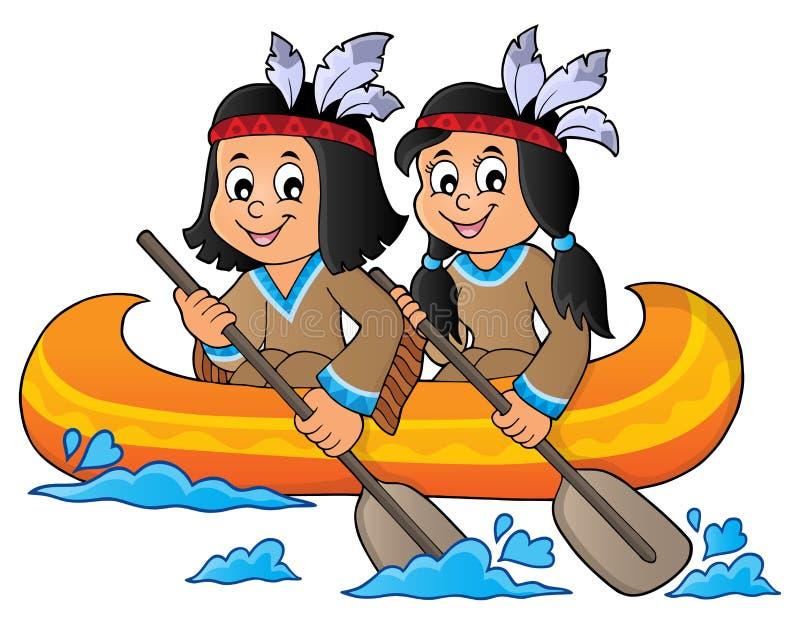 Παιδιά αμερικανών ιθαγενών στο θέμα 1 βαρκών απεικόνιση αποθεμάτων