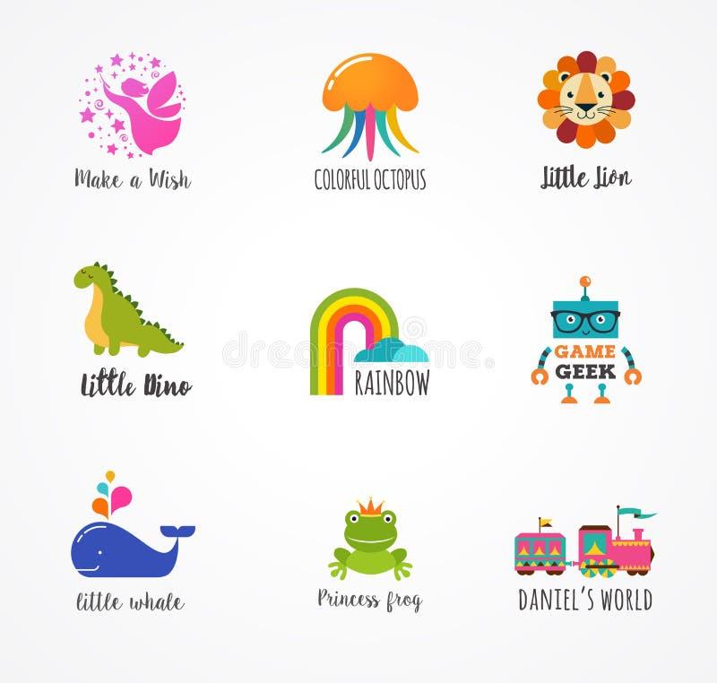 Παιδιά, εικονίδια παιδιών και λογότυπα, στοιχεία παιδικής ηλικίας απεικόνιση αποθεμάτων