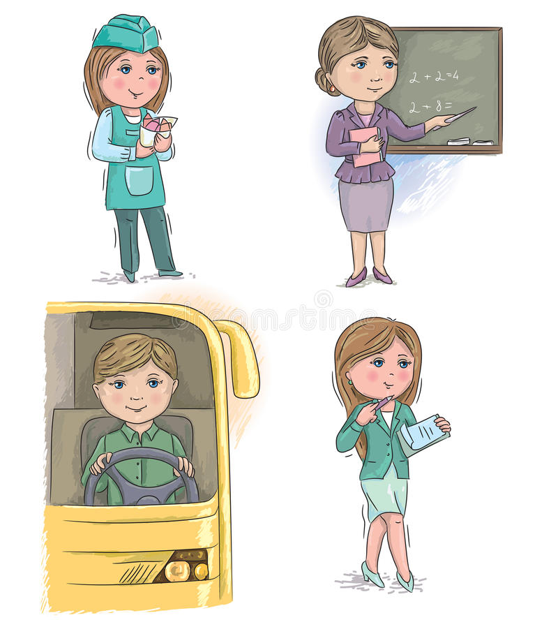Παιδιά 6 επαγγέλματος ελεύθερη απεικόνιση δικαιώματος