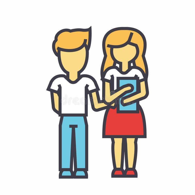Παιδιά διδασκαλίας, σχολικοί σπουδαστές, αγόρι και κορίτσι με την έννοια βιβλίων διανυσματική απεικόνιση