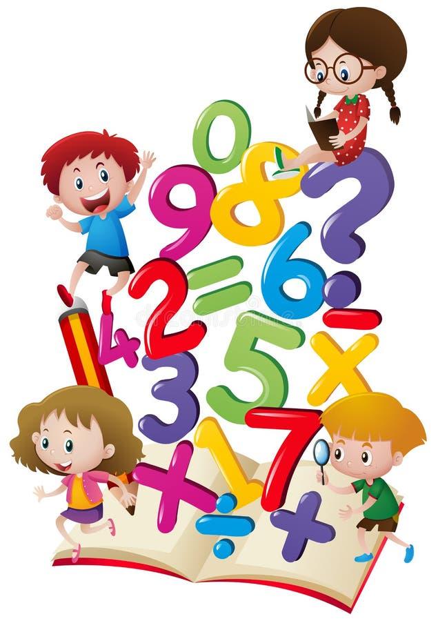 Παιδιά και αριθμοί στο βιβλίο απεικόνιση αποθεμάτων