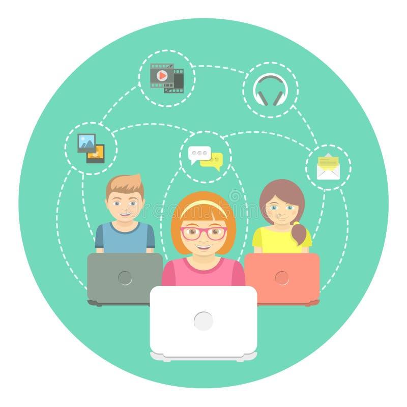 Παιδιά και Διαδίκτυο διανυσματική απεικόνιση