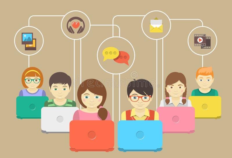 Παιδιά και κοινωνική δικτύωση διανυσματική απεικόνιση