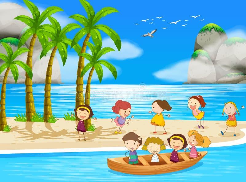 Παιδιά και παραλία διανυσματική απεικόνιση