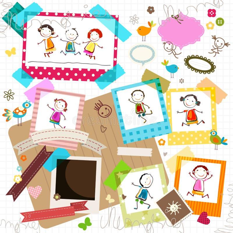 Παιδιά και πλαίσια φωτογραφιών διανυσματική απεικόνιση