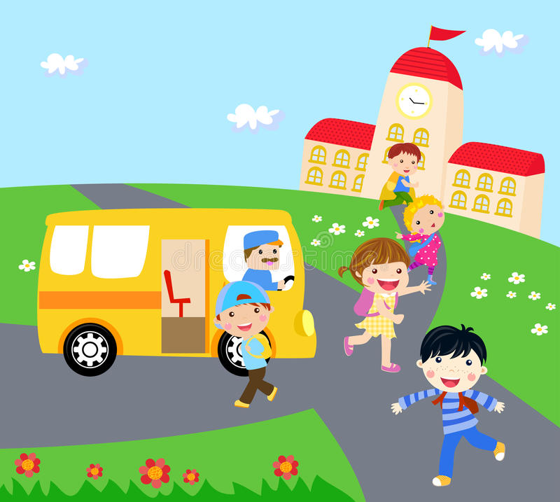 Παιδιά και σχολικό λεωφορείο ελεύθερη απεικόνιση δικαιώματος