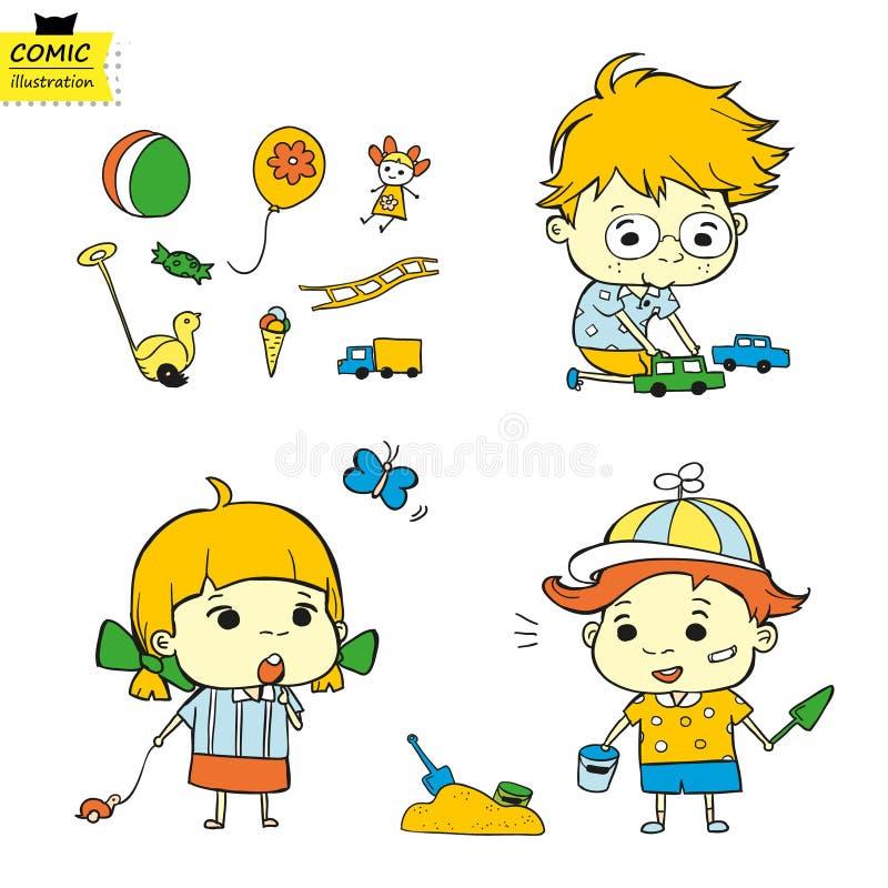 Παιδιά και τα παιχνίδια τους (Διάνυσμα) διανυσματική απεικόνιση