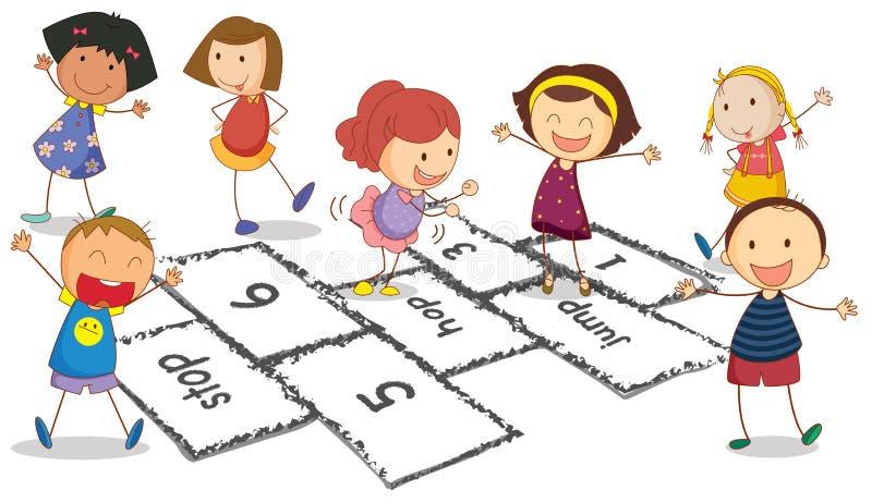 Παιδιά και hopscotch διανυσματική απεικόνιση