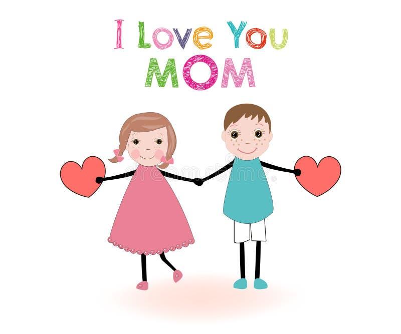 Παιδιά καρτών ημέρας μητέρας που κρατούν το διάνυσμα καρδιών διανυσματική απεικόνιση