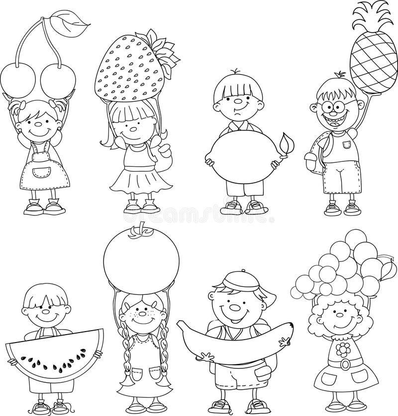 Παιδιά κινούμενων σχεδίων με τα φρούτα απεικόνιση αποθεμάτων
