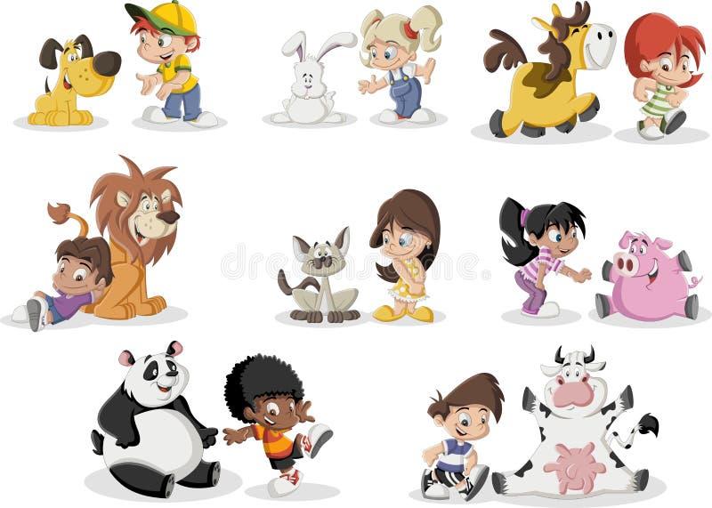Παιδιά κινούμενων σχεδίων που παίζουν με το κατοικίδιο ζώο ζώων διανυσματική απεικόνιση