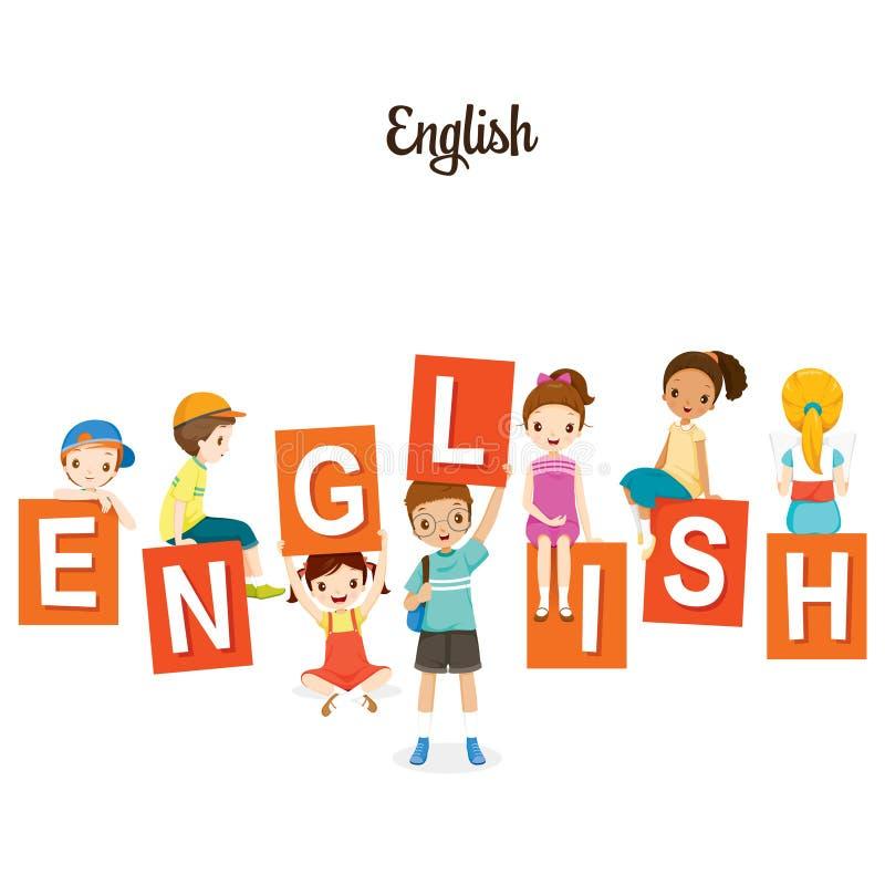 Παιδιά με τα αγγλικά αλφάβητα απεικόνιση αποθεμάτων