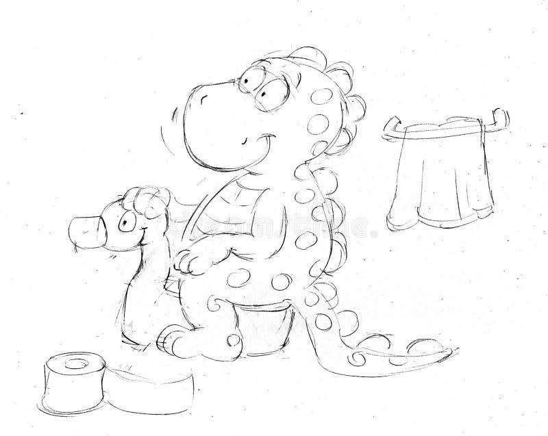 Παιδιά με τα αναχωρώντας αεροπλάνα, τα σκίτσα και τα σκίτσα μολυβιών και doodles απεικόνιση αποθεμάτων