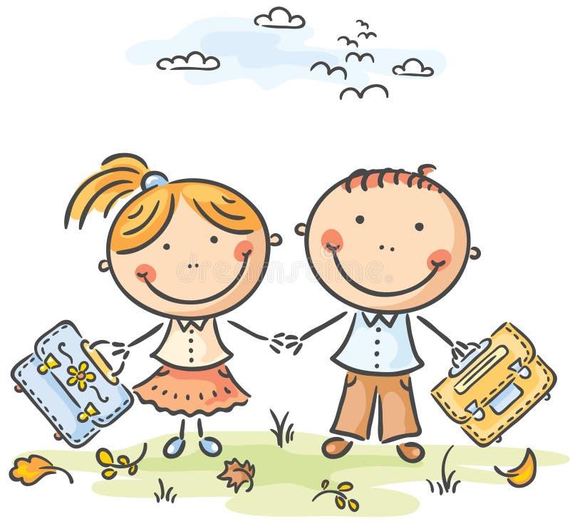 Παιδιά με τις σχολικές τσάντες ελεύθερη απεικόνιση δικαιώματος