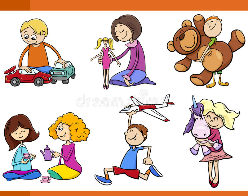Παιδιά με το σύνολο κινούμενων σχεδίων παιχνιδιών ελεύθερη απεικόνιση δικαιώματος
