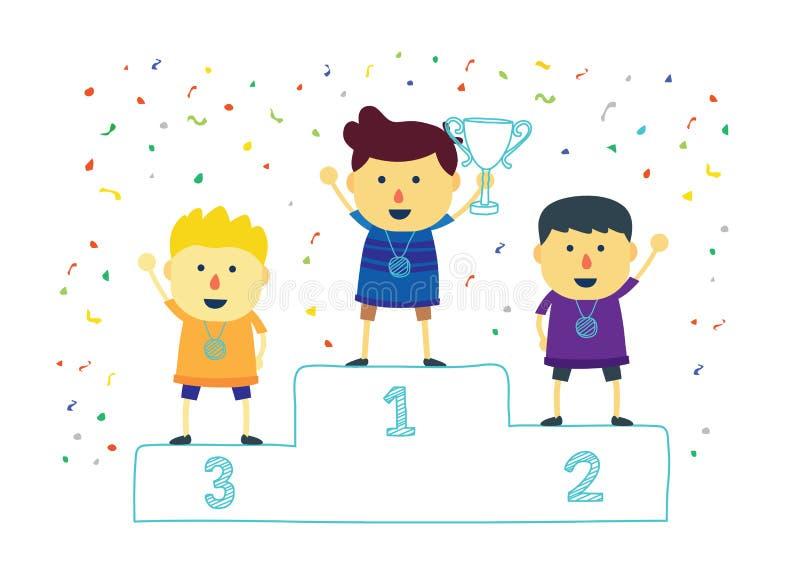 Παιδιά νικητών που κρατούν ψηλά το κερδίζοντας τρόπαιο διανυσματική απεικόνιση