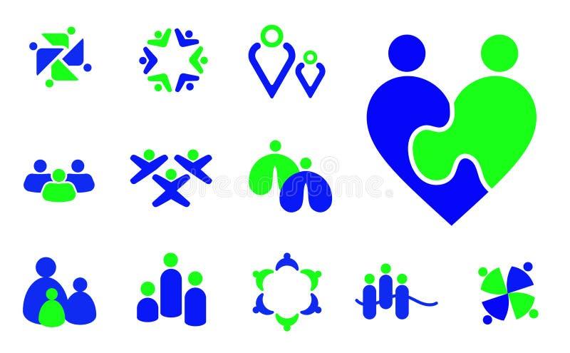 Παιδιά, οικογένεια, κοινοτικά εικονίδια ανθρώπων ομάδας και σύμβολα ελεύθερη απεικόνιση δικαιώματος