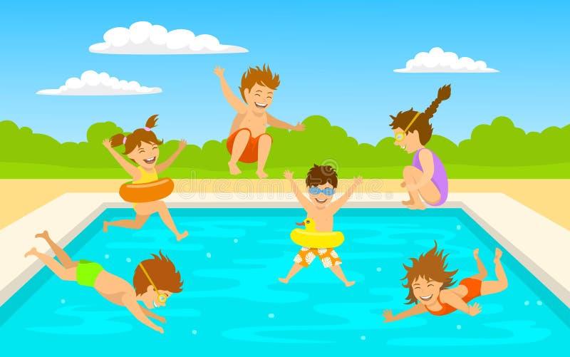 Παιδιά παιδιών, χαριτωμένα αγόρια και κορίτσια που κολυμπούν το άλμα κατάδυσης στη σκηνή λιμνών διανυσματική απεικόνιση