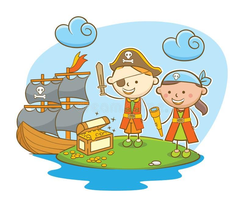 Παιδιά πειρατών που βρίσκουν το θησαυρό ελεύθερη απεικόνιση δικαιώματος