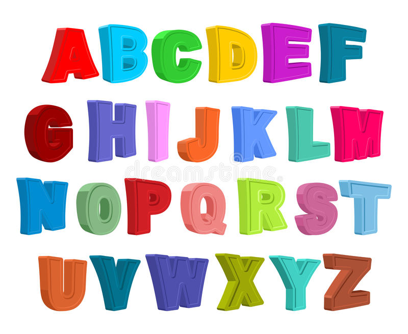Παιδιά πηγών αλφάβητο ζωηρόχρωμο Επιστολές στο ύφος παιδιών διανυσματική απεικόνιση