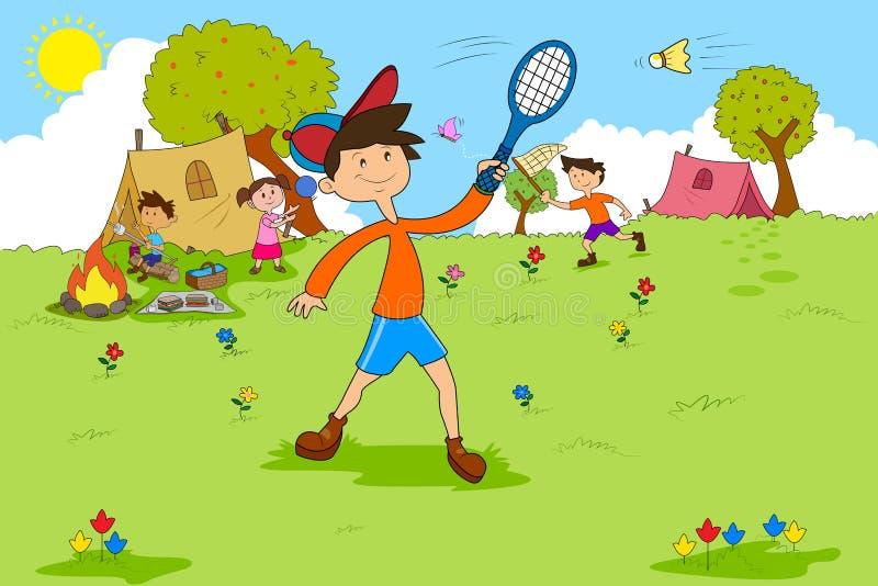 Παιδιά που απολαμβάνουν τις δραστηριότητες καλοκαιρινό εκπαιδευτικό κάμπινγκ ελεύθερη απεικόνιση δικαιώματος