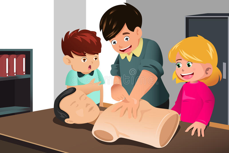 Παιδιά που ασκούν CPR απεικόνιση αποθεμάτων