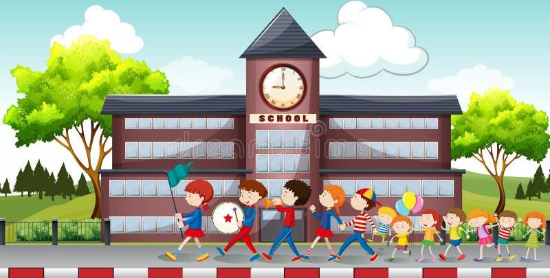 Παιδιά που βαδίζουν μπροστά από το σχολείο διανυσματική απεικόνιση