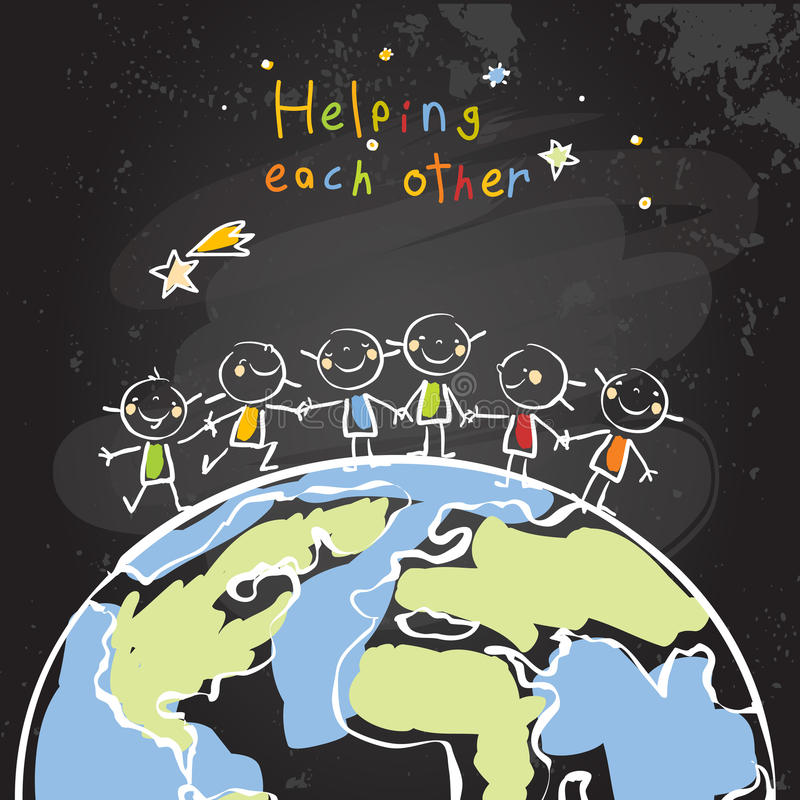 Παιδιά που βοηθούν το ένα το άλλο απεικόνιση αποθεμάτων