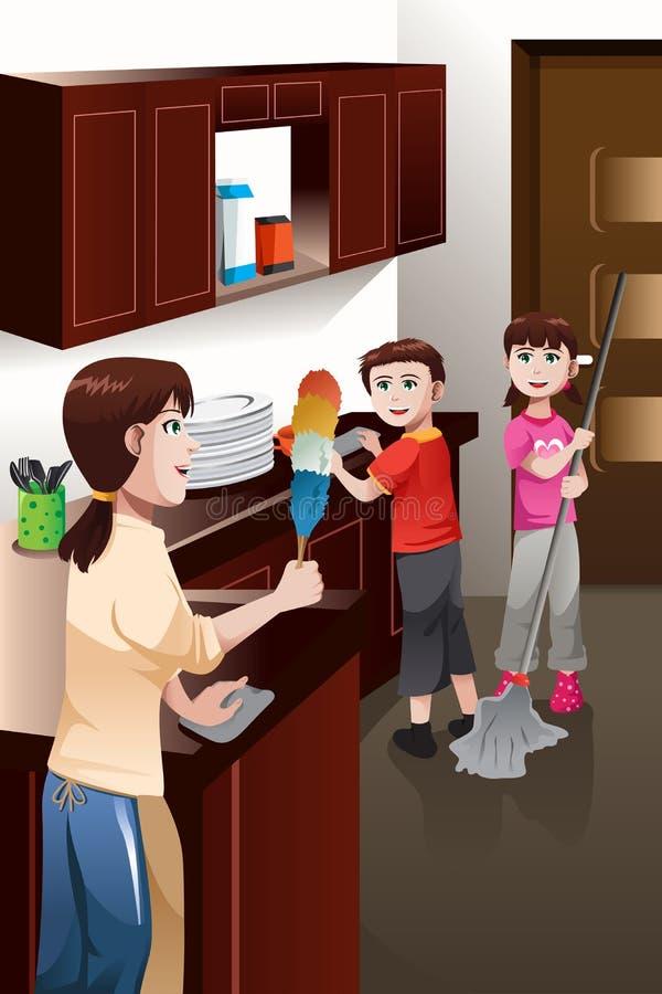 Παιδιά που βοηθούν το καθαρίζοντας σπίτι γονέων τους διανυσματική απεικόνιση