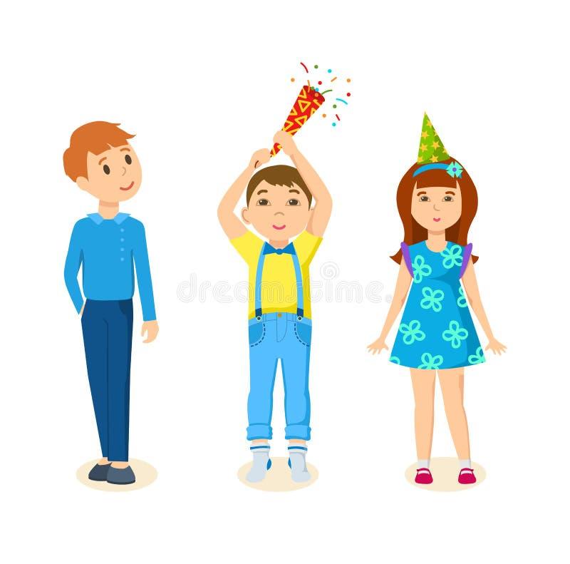 Παιδιά που γιορτάζουν μαζί τα γενέθλια με την ανατίναξη firecrackers απεικόνιση αποθεμάτων