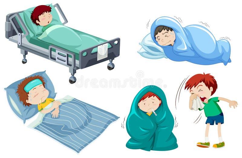 Παιδιά που είναι άρρωστα στο κρεβάτι διανυσματική απεικόνιση