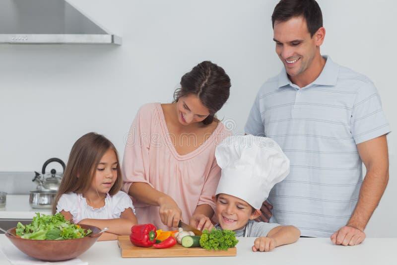 Παιδιά που εξετάζουν τη μητέρα τους που κόβει τα λαχανικά στοκ εικόνα με δικαίωμα ελεύθερης χρήσης