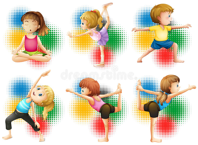 Παιδιά που κάνουν τη γιόγκα και το τέντωμα απεικόνιση αποθεμάτων