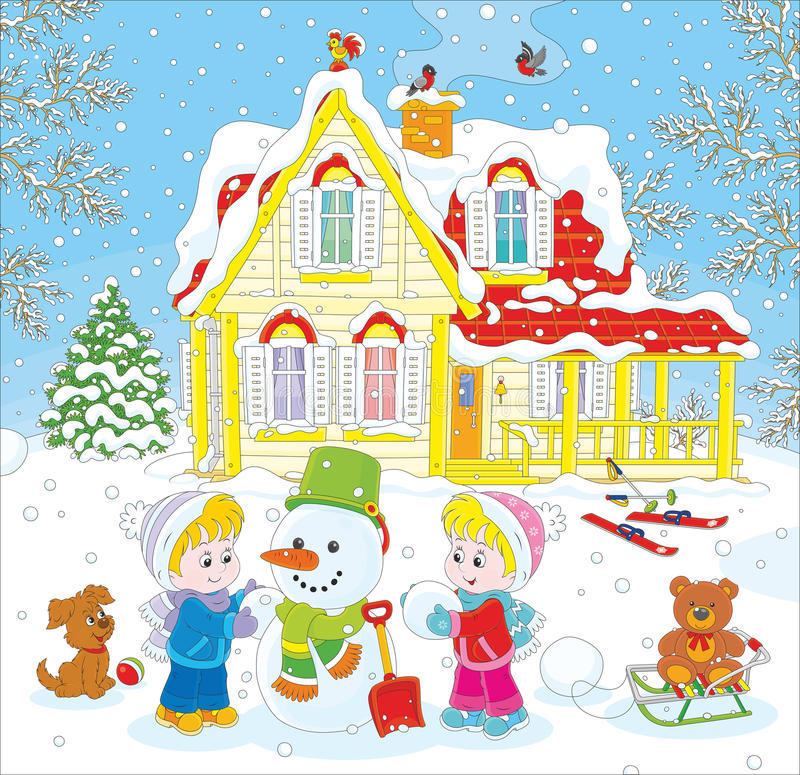 παιδιά που κάνουν το χιονά απεικόνιση αποθεμάτων