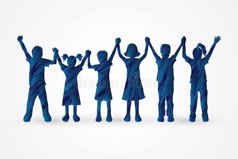 Παιδιά που κρατούν το χέρι διανυσματική απεικόνιση