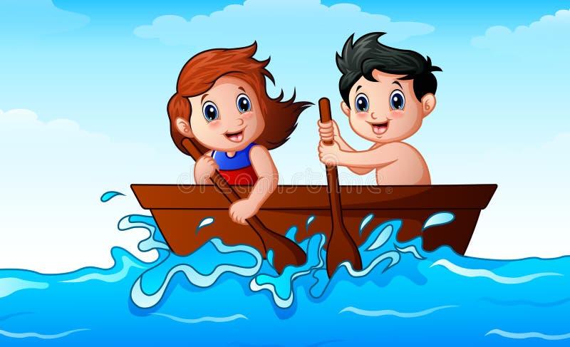 Παιδιά που κωπηλατούν μια βάρκα στον ωκεανό απεικόνιση αποθεμάτων