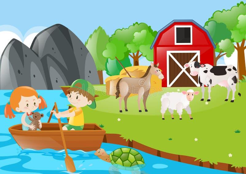 Παιδιά που κωπηλατούν τη βάρκα στην αυλή διανυσματική απεικόνιση