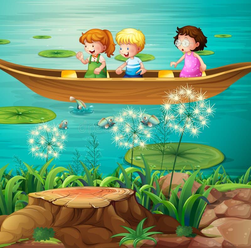 Παιδιά που κωπηλατούν τη βάρκα στη λίμνη απεικόνιση αποθεμάτων