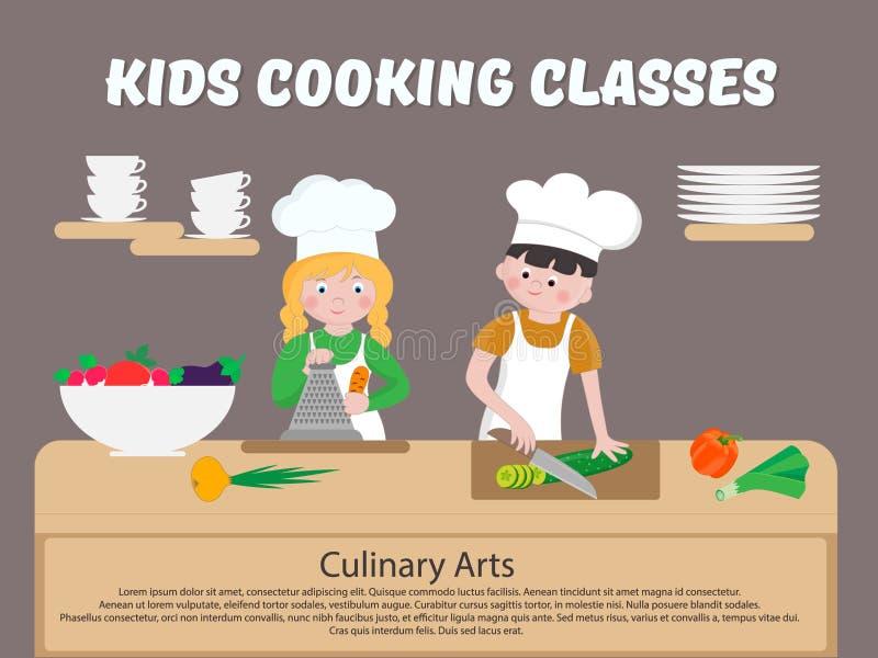 Παιδιά που μαγειρεύουν το μάγειρα παιδιών αφισών κατηγοριών διανυσματική απεικόνιση