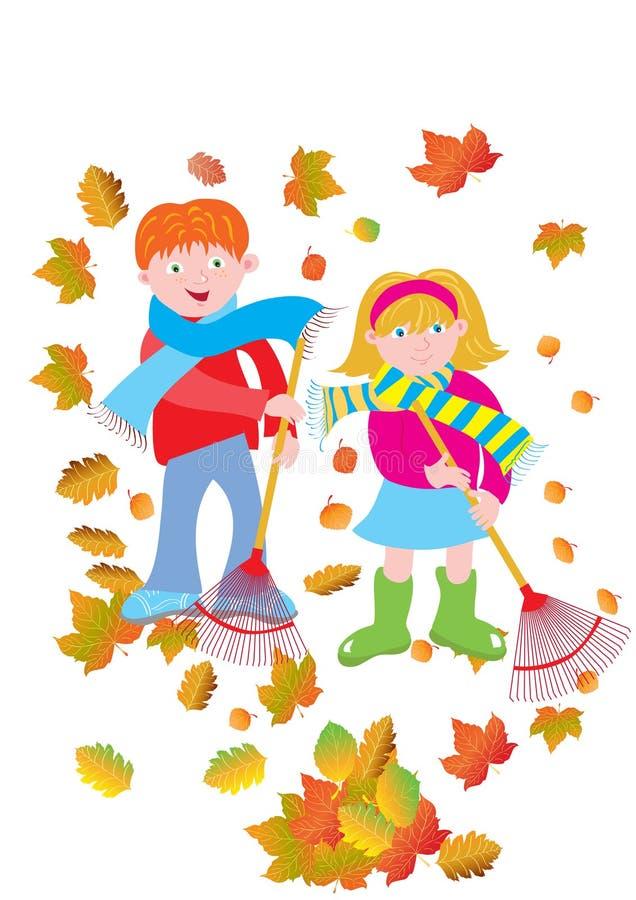 Παιδιά που μαζεύουν με τη τσουγκράνα τα φύλλα ελεύθερη απεικόνιση δικαιώματος