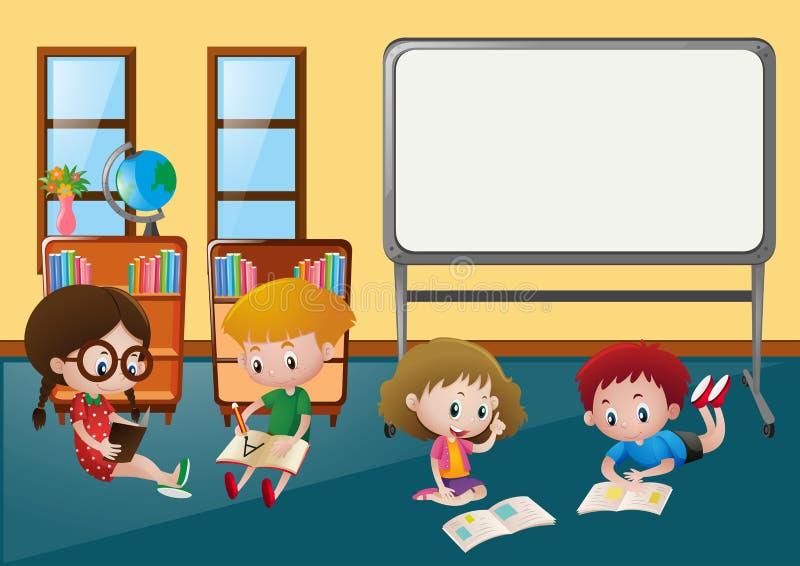 Παιδιά που μαθαίνουν στην τάξη ελεύθερη απεικόνιση δικαιώματος