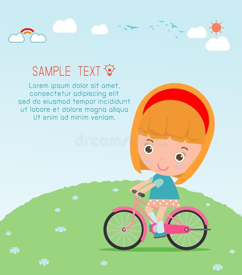 Παιδιά που οδηγούν τα ποδήλατα, οδηγώντας ποδήλατο παιδιών, παιδιά στο διάνυσμα ποδηλάτων στο υπόβαθρο, απεικόνιση μιας ομάδας πα διανυσματική απεικόνιση