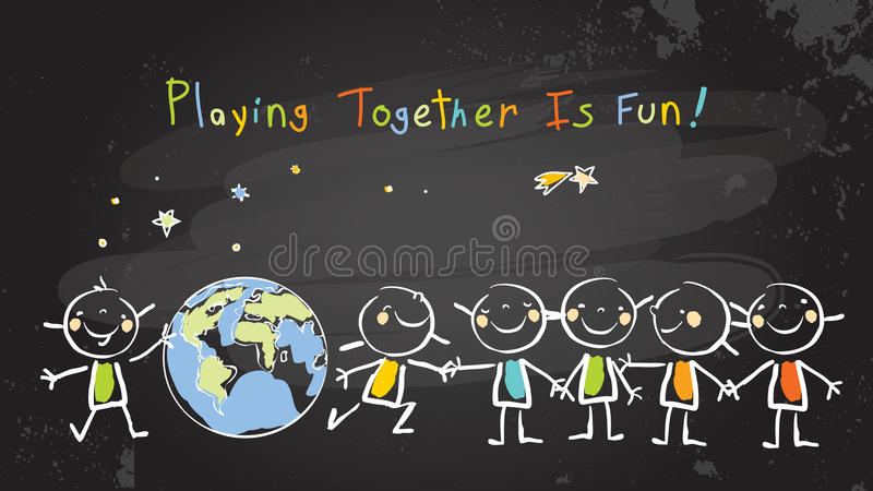 Παιδιά που παίζουν μαζί για την ειρήνη, ομαδική εργασία διανυσματική απεικόνιση