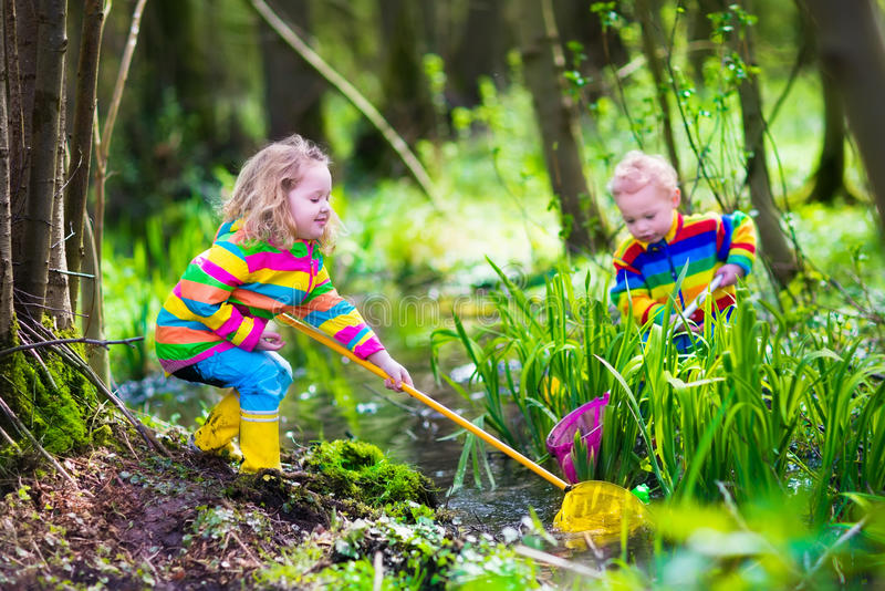 Παιδιά που παίζουν με το βάτραχο στοκ φωτογραφία με δικαίωμα ελεύθερης χρήσης