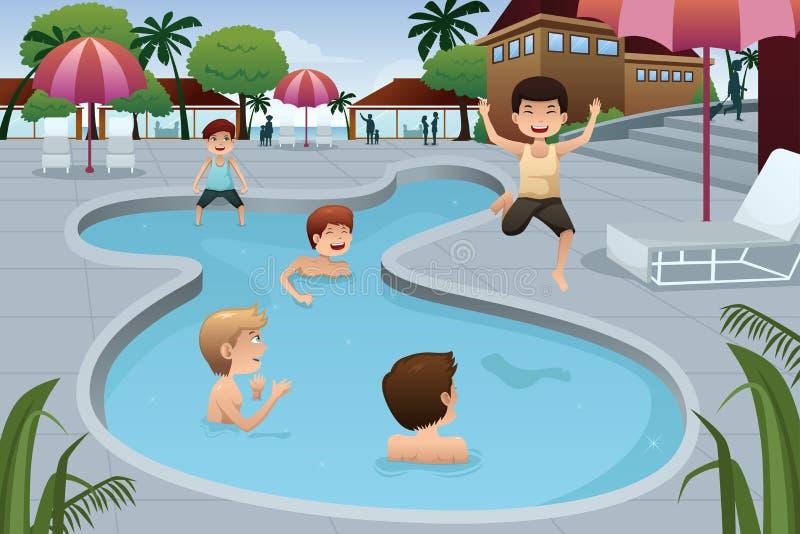 Παιδιά που παίζουν σε μια υπαίθρια πισίνα διανυσματική απεικόνιση
