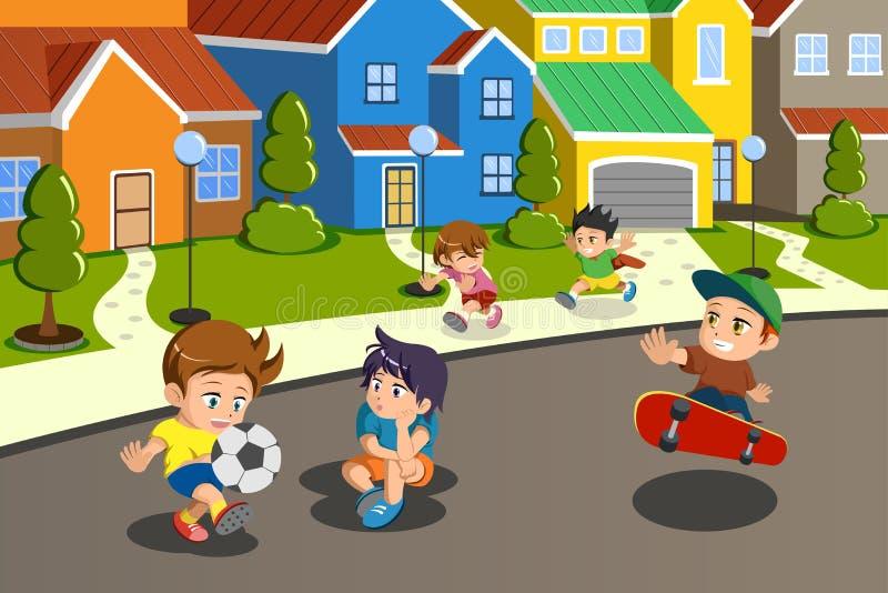 Παιδιά που παίζουν στην οδό μιας προαστιακής γειτονιάς απεικόνιση αποθεμάτων