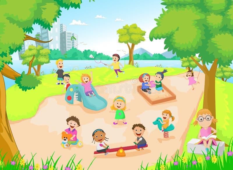 Παιδιά που παίζουν στην παιδική χαρά διανυσματική απεικόνιση